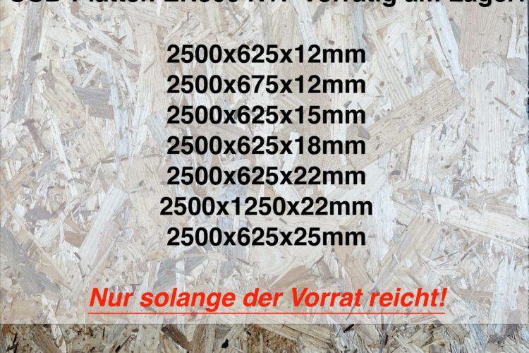 OSB-Platten in verschiedenen Stärken & Größen vorrätig!